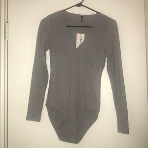 Grey long sleeve Leotard